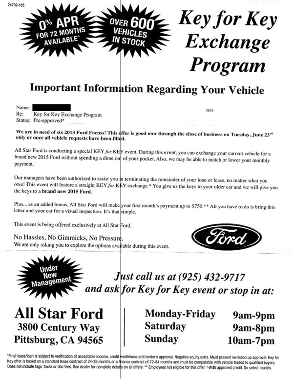 Ford key for key exchange program