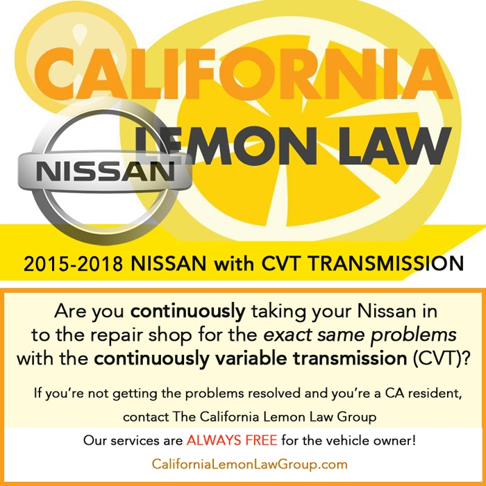California Lemon Law cases, 2015 - 2018 Nissan CVT transmission